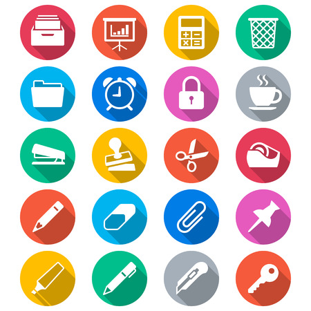 grapadora: Suministros de oficina iconos de color planas