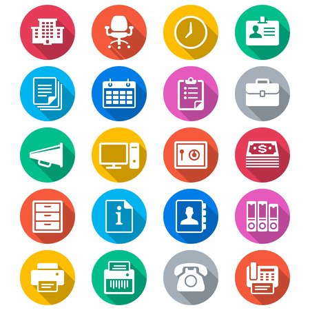 shredder machine: Office supplies flat color icons
