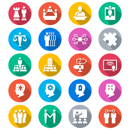 leadership training: Business flat color icons Illustration