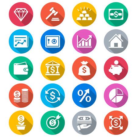 Bedrijfsleven en investeringen vlakke kleur pictogrammen Stock Illustratie