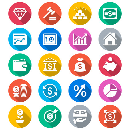 Business and investment flat color icons Ilustrace