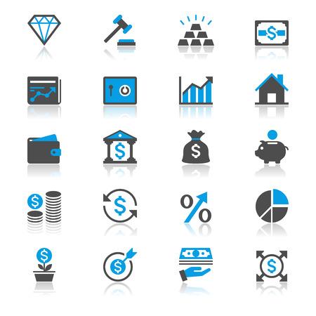 Geschäfts-und Investitionsflach Icons mit Reflexion Vektorgrafik