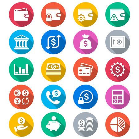 Financieel beheer vlakke kleur pictogrammen Stock Illustratie