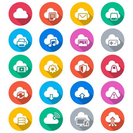 joypad: Cloud computing flat color icons Illustration