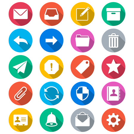 Email flat color icons Ilustrace