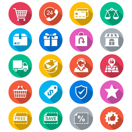 E-commerce flat color icons 向量圖像