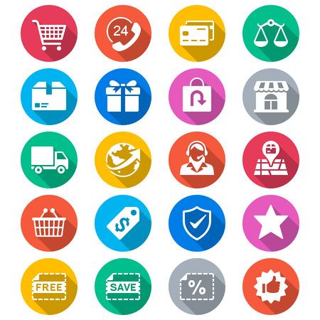 E-commerce flat color icons Illustration
