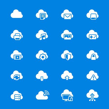 Cloud computing flat icons Vector