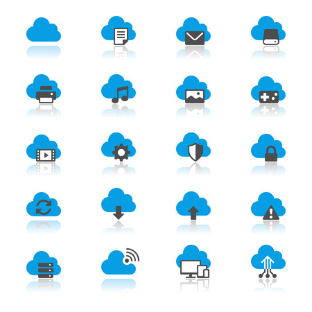 cloud: Cloud computing flat with reflection icons