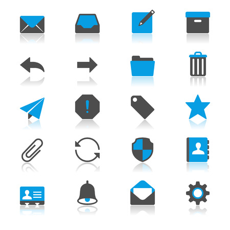Email flat with reflection icons Illustration