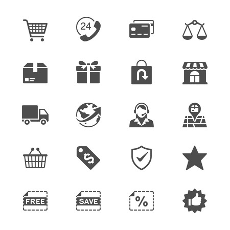gift basket: E-commerce flat icons
