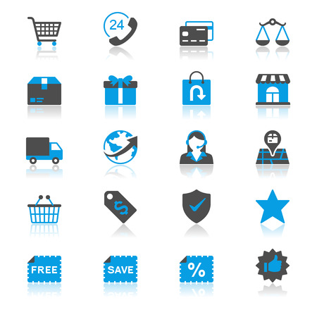 E-commerce plat avec des icônes de réflexion Vecteurs