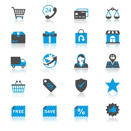 E-commerce plat met reflectie iconen Stock Illustratie