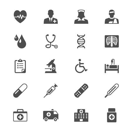 paciente: Iconos planos de la salud Vectores