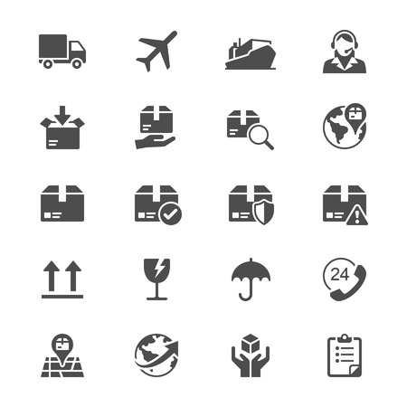 Logistics and shipping flat icons Illustration