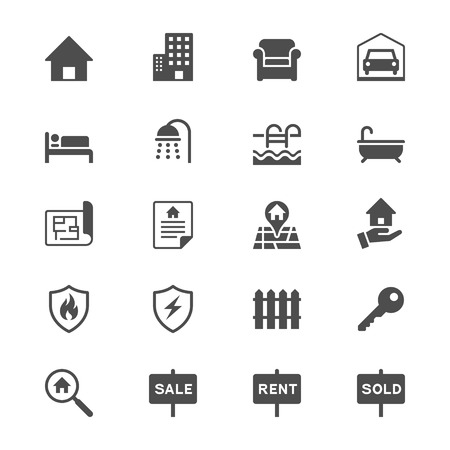 sales floor: Real estate flat icons Illustration