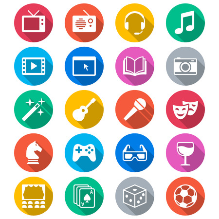 Entertainment flat color icons