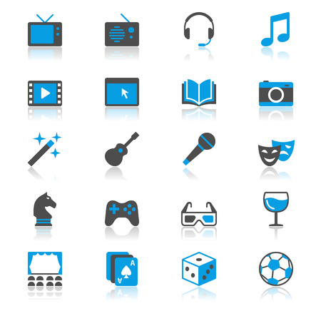 Entertainment flat with reflection icons Illustration