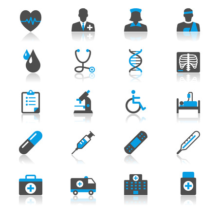 egészségügyi ellátás: Egészségügyi ellátás lapos elmélkedés ikonok