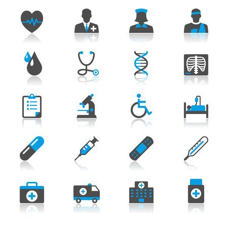 Piso Cuidado de la salud con los iconos de reflexión Foto de archivo - 29611552