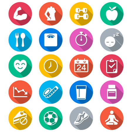 arm muscles: Health care flat color icons Illustration