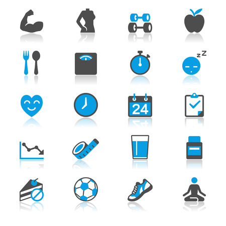 strong arm: Health care flat with reflection icons Illustration