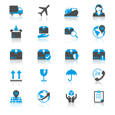 flat earth: Logistics and shipping flat with reflection icons