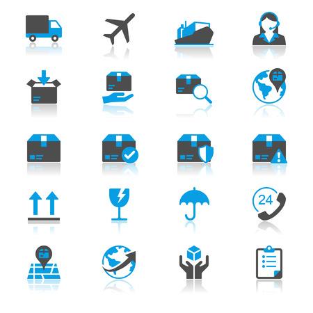 Logistique et transport plat avec des icônes de réflexion Banque d'images - 29611557