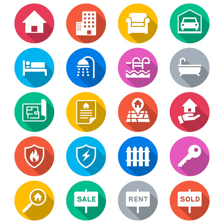 Real estate flat color icons Vector