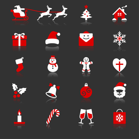 Christmas flat with reflection icons
