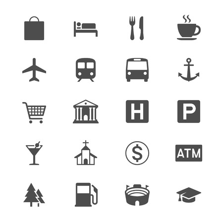 estacion de gasolina: Mapa y ubicación iconos planos