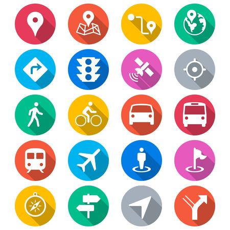 Navigation flat color icons Illustration