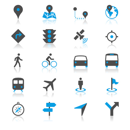 bicycle walk: Navigation flat with reflection icons