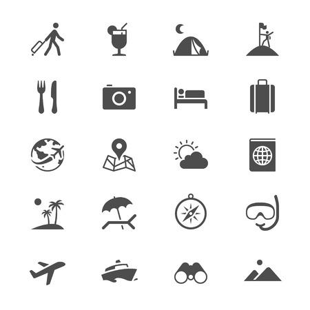 flat earth: Traveling flat icons