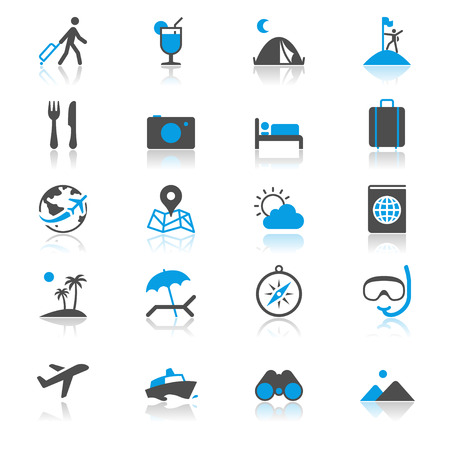 flat earth: Traveling flat with reflection icons