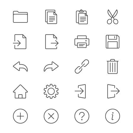 log out: Application toolbar thin icons