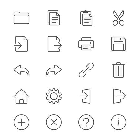 toolbar: Icone sottile barra degli strumenti dell'applicazione