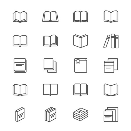 e book reader: Book thin icons Illustration