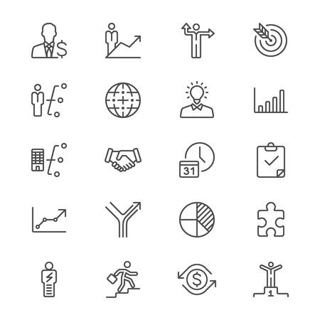 Business thin icons  イラスト・ベクター素材