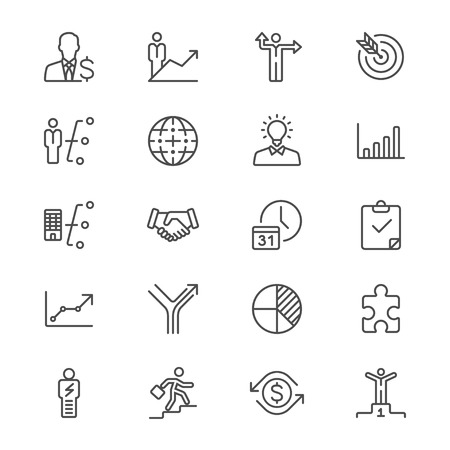 Business thin icons Illustration