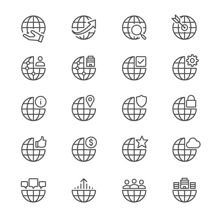 manage: Business thin icons Illustration