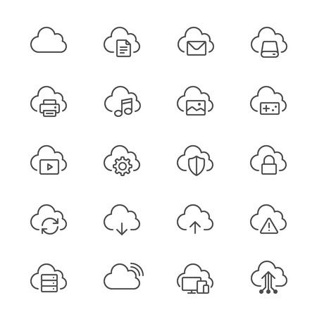 file transfer: Cloud computing thin icons Illustration