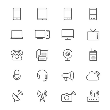 device: Communication device thin icons Illustration