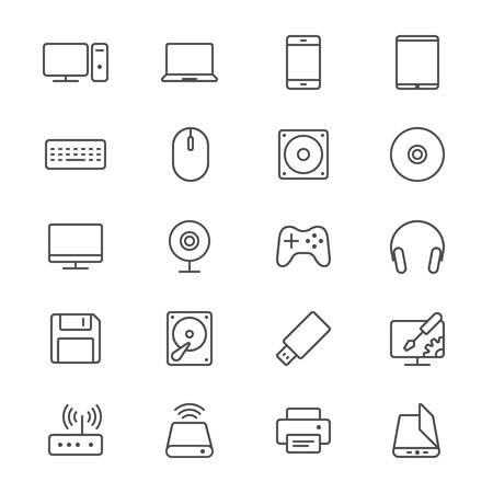 Computer thin icons Stock Vector - 35715136