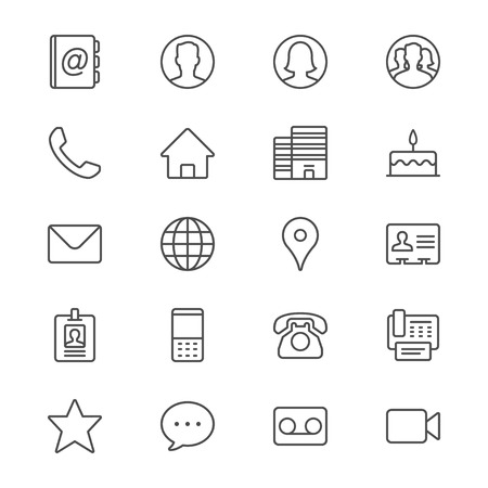 woman on phone: Contact thin icons