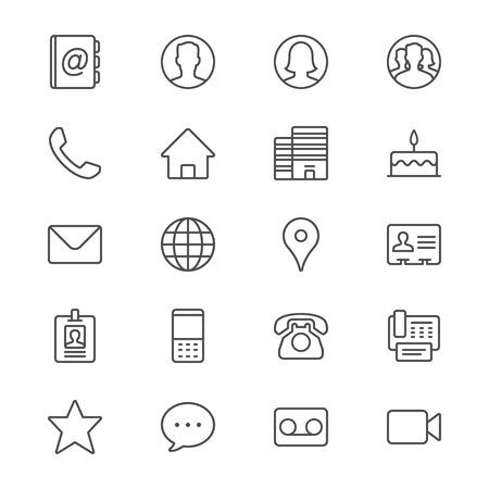 Póngase en contacto con iconos delgadas Foto de archivo - 35715138