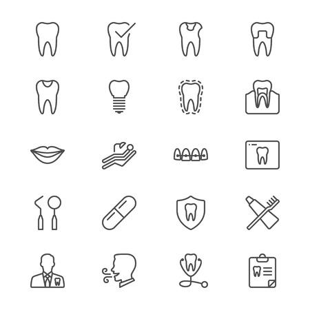 Dental dunne pictogrammen Stock Illustratie