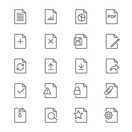 Document thin icons Illustration