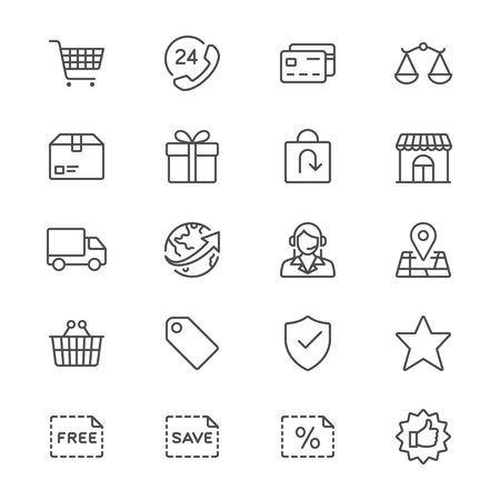 E-commerce dunne pictogrammen Stock Illustratie