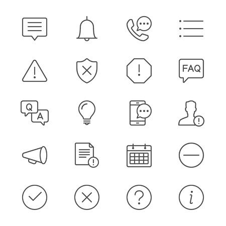 Informatie en aanmelding dunne pictogrammen